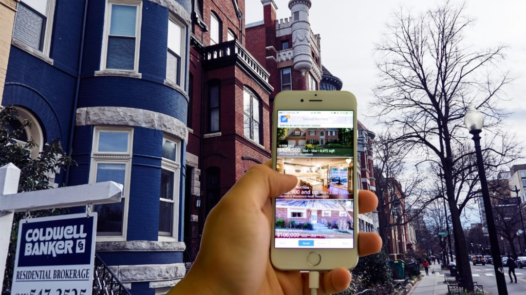 Real Estate ads appearing on a mobile phone