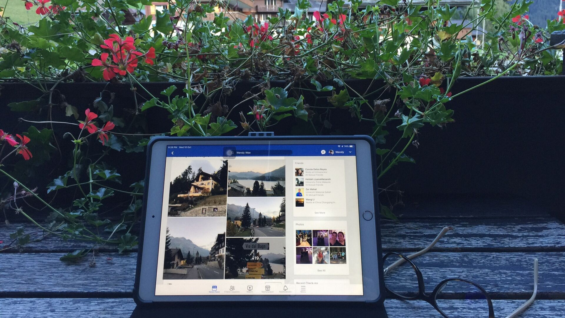 Facebook ad manager changes displayed on a laptop on an outdoor table